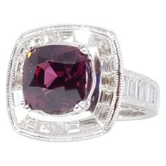 GIA Certified Natural IF 3.6 Carat Red Spinel 2 Carat Diamond Deco Inspired Ring