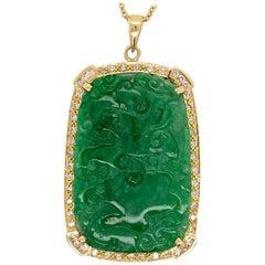 """GIA Certified Natural Jadeite """"A"""" Translucent Jade 1 Carat Diamond Gold Pendant"""