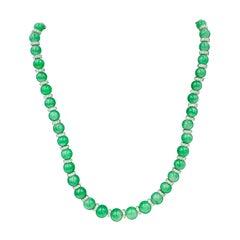 GIA Certified Natural Jadeite Bead Necklace with 18 Karat Gold Diamond Clasp