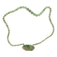 GIA Certified Natural Jadeite Jade Midcentury Yellow Gold Pendant Necklace
