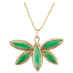 GIA Certified Natural Jadeite Jade Yellow Gold Butterfly Pendant Necklace