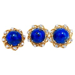 GIA Certified Natural Lapis Diamond Clip Earrings and Ring 18 Karat
