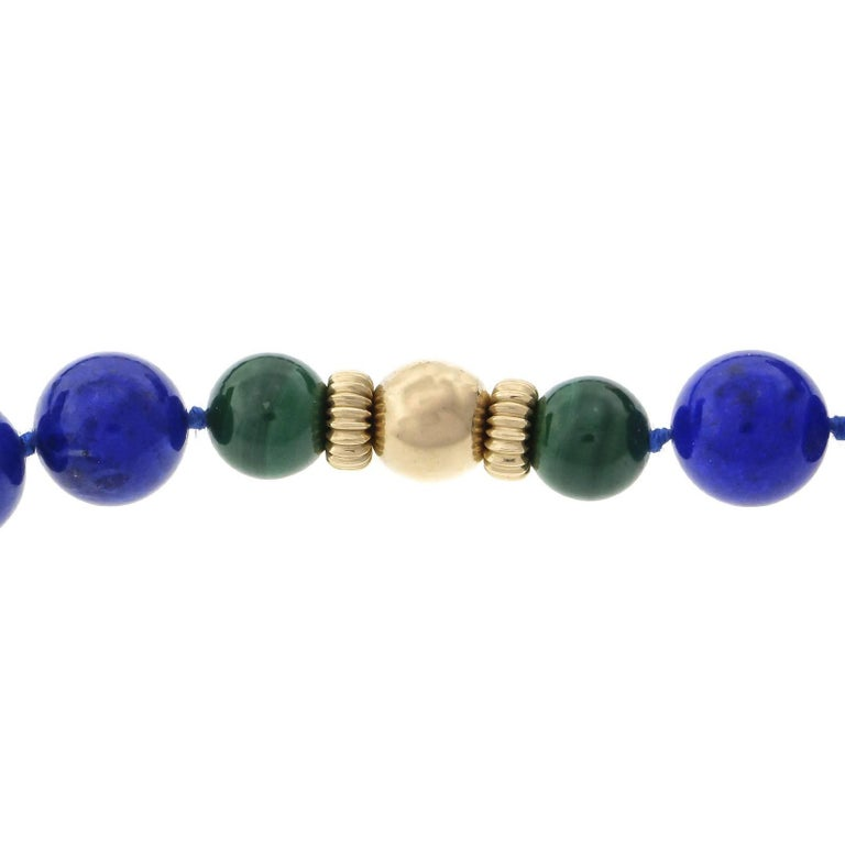 Bead GIA Certified Natural Lapis Malachite Beed Gold Necklace For Sale