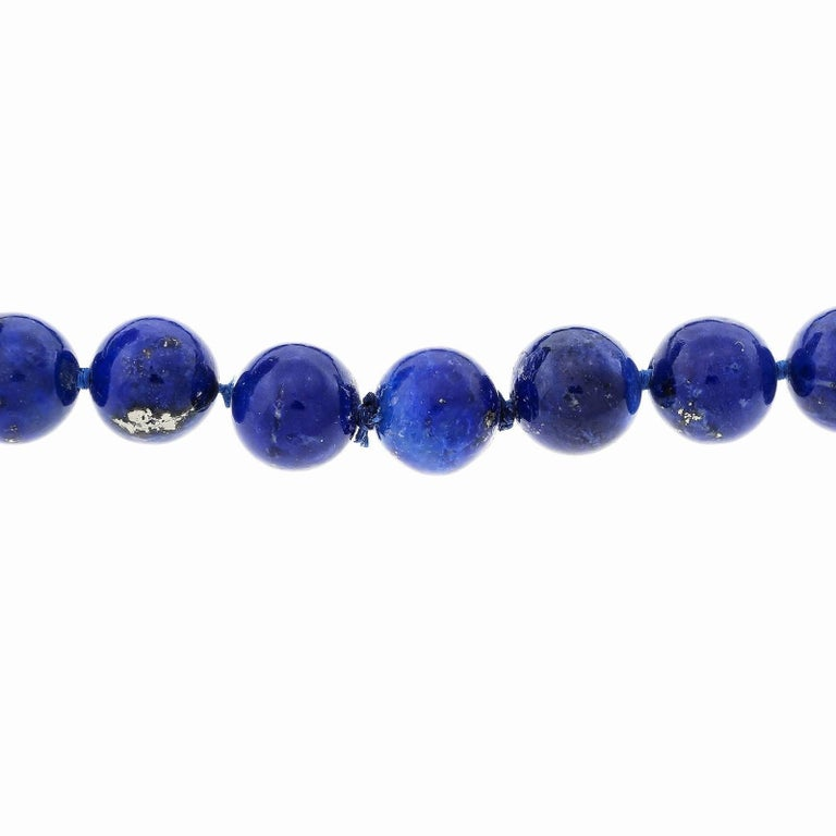GIA Certified Natural Lapis Malachite Beed Gold Necklace In Good Condition For Sale In Stamford, CT