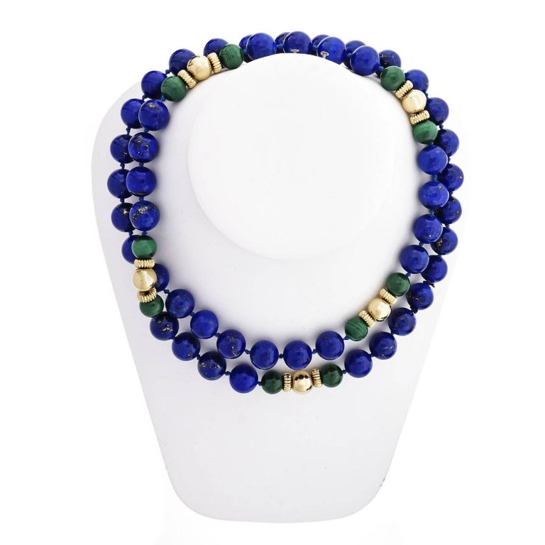 Women's GIA Certified Natural Lapis Malachite Beed Gold Necklace For Sale