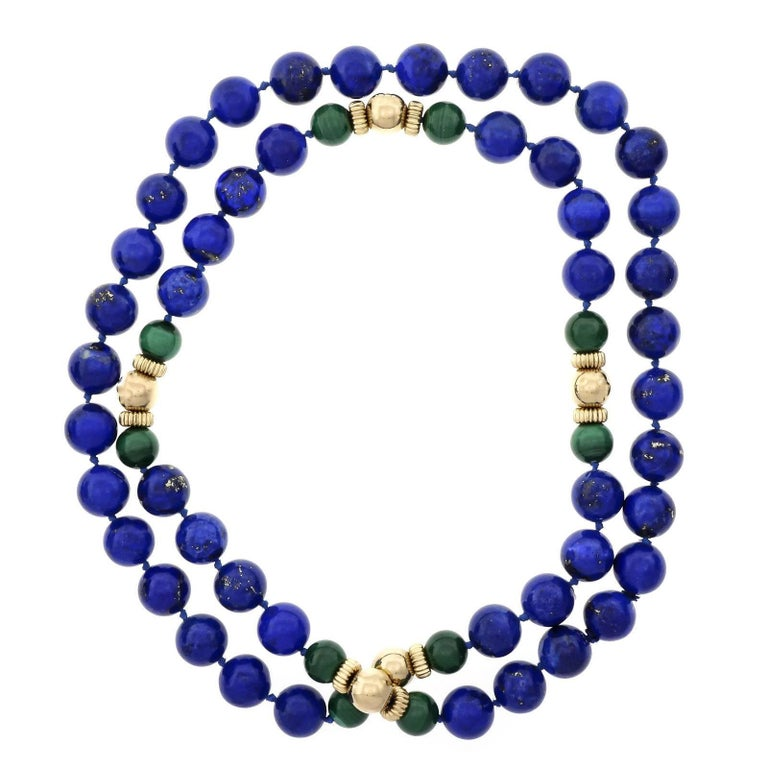 GIA Certified Natural Lapis Malachite Beed Gold Necklace