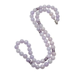 GIA Certified Natural Lavender Jadeite Jade, Amethyst and Diamonds Necklace