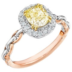 GIA Certified Natural Light Yellow 1.30 Cushion Cut Chardonnay Diamond Ring