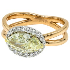 GIA Certified Natural Light Yellow 1.50 Marquise Cut Chardonnay Diamond Ring