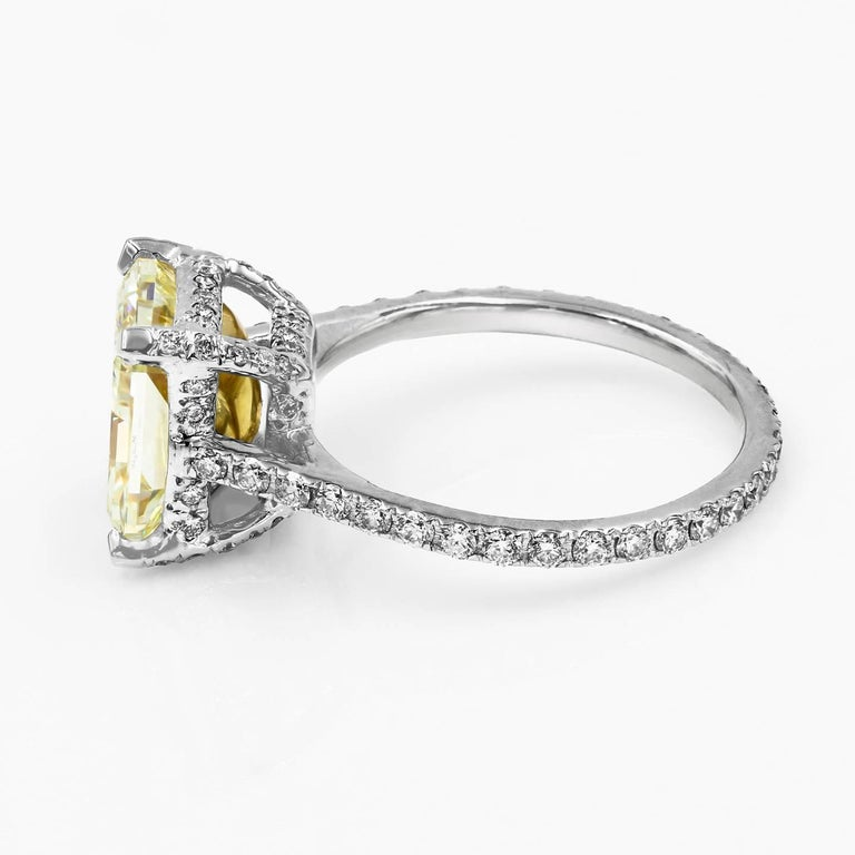 Radiant Cut GIA Certified Natural Light Yellow 3.80 Carat Chardonnay Diamond® Ring For Sale