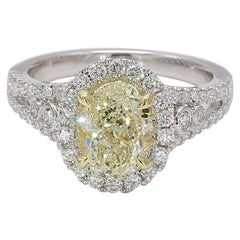GIA Certified Natural Light Yellow Oval & White Diamond Ring 2.78 Carat 18k Gold