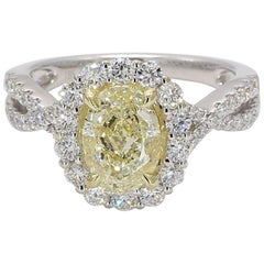GIA Certified Natural Light Yellow Oval & White Diamond Ring 2.93 Carat 18k Gold