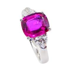 GIA Certified Natural Neon Vivid Pink No Heat Sapphire & Diamond Engagement Ring