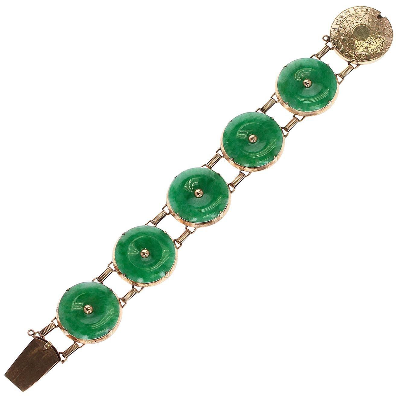 GIA Certified Natural, No Heat Jade Bracelet, 14 Karat Rose Gold