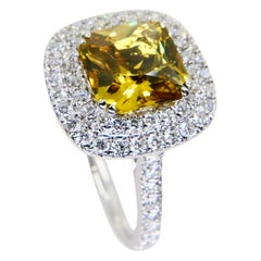 GIA Certified Natural No Heat Yellow Sapphire Diamond Cocktail Ring, Double Halo