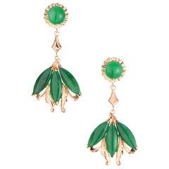 GIA Certified Natural Omphacite Jadeite Jade Gold Dangle Chandelier Earrings