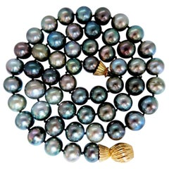 GIA Certified Natural Peacock Tahitian Pearls Necklace Double Wrap