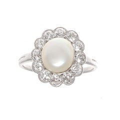 GIA Certified Natural Pearl Diamond Gold Cluster Ring