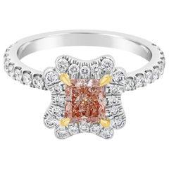 Roman Malakov, GIA Certified Natural Pink Diamond Contoured Halo Engagement Ring
