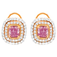 GIA Certified Natural Pink Diamond Stud Esrrings