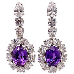 GIA Certified Natural Purple Sapphire and Diamond Earrings