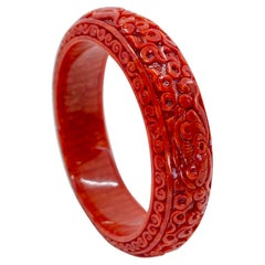 GIA Certified Natural Red Coral Bangle Bracelet, Exceptional Carving