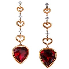 GIA Certified Natural Red Heart Tourmaline Diamonds Dangle Earrings