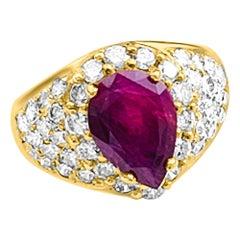 GIA Certified Natural Ruby Ring & Diamonds 18 karat Yellow Gold Pear Shape Ruby