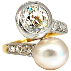 GIA Certified Natural Saltwater Pearl Light Yellow Diamonds Ring 18 Karat