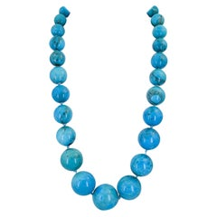 GIA Certified Natural Turquoise Bead Necklace