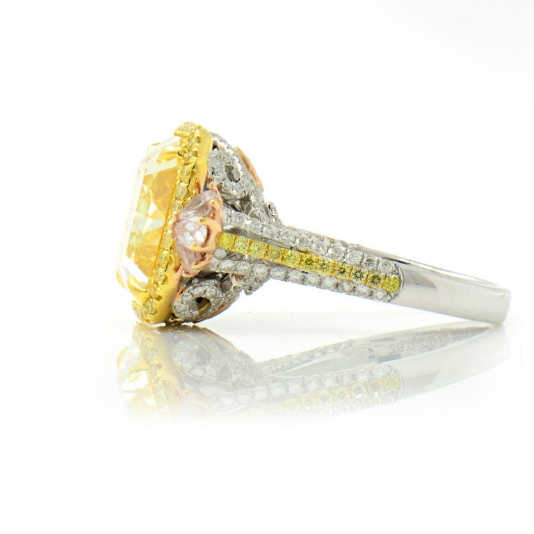 Radiant Cut GIA Certified Natural Untreated 14.14 Carat Yellow Pink White Diamond Ring For Sale