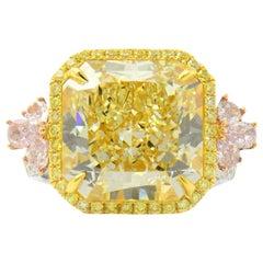 GIA Certified Natural Untreated 14.14 Carat Yellow Pink White Diamond Ring