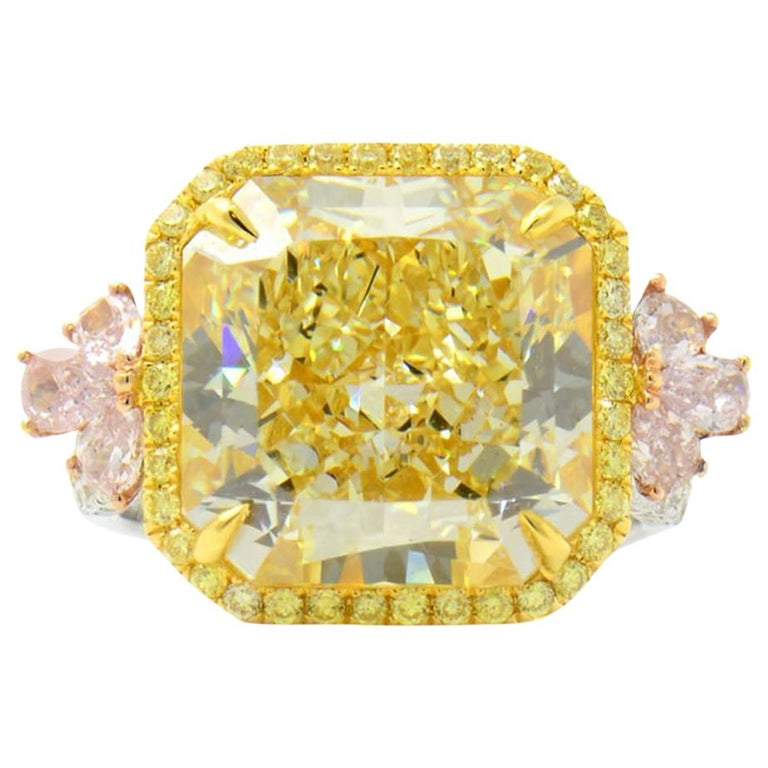 GIA Certified Natural Untreated 14.14 Carat Yellow Pink White Diamond Ring For Sale