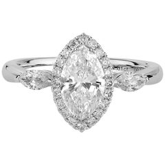 GIA Certified Natural Untreated 1.43 Carat White Diamond Engagement Wedding Ring