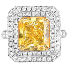 GIA Certified Natural Untreated 5.01 Carat Light Yellow Diamond Engagement Ring
