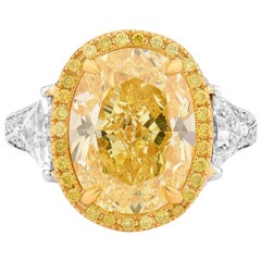 GIA Certified Natural Untreated Fancy Yellow 8.22 Carat Diamond Statement Ring