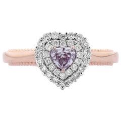 GIA Certified Natural Untreated Light Pink Diamond 18 Karat Rose Gold Ring
