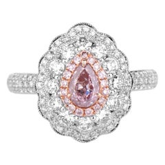GIA Certified Natural Untreated Pink White 1.27 Carat Diamond Statement Ring