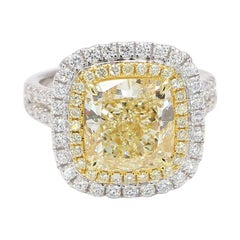 GIA Certified Natural Yellow Cush and White Diamond 7.24 Cts Total Dia 18k Gold
