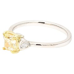 GIA Certified Natural Yellow Cushion Cut Center 3-Stone Ring 1.10cts total