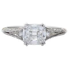 GIA Certified Neil Lane Couture Design Cushion Diamond, Platinum Engagement Ring