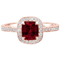 GIA Certified No-Heat 1.00 Carat Cushion Ruby and Diamond Halo Engagement Ring