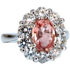 GIA Certified No Heat 2.05ct Padparadscha Sapphire Diamond Ring Fine Unheated