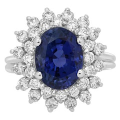 GIA Certified No Heat 6.19 Carat Ceylon Sapphire Diamond Double Halo Gold Ring
