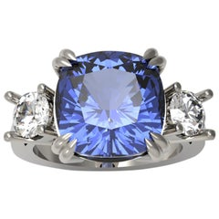 GIA Certified No Heat 8.59 Carat Cushion Cut Sapphire Natural Violet Blue Ring