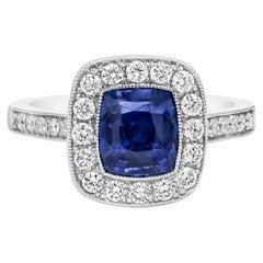 Roman Malakov No Heat Blue Sapphire and Diamond Halo Engagement Ring