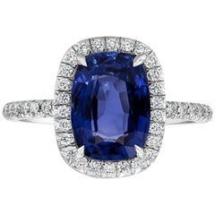 GIA Certified No-Heat Blue Sapphire Halo Engagement Ring