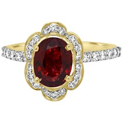 GIA Certified No Heat Burma Spinel  Diamond Halo Gold Bridal Fashion Ring