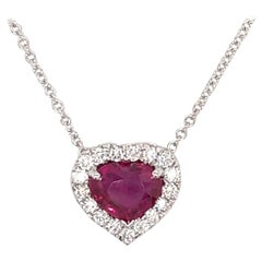 GIA Certified No Heat Heart Shape Ruby Diamond Halo Pendant 2.10 Carat 18 Karat