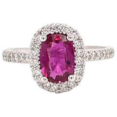 GIA Certified No Heat Ruby Diamond Halo Ring 1.69 Carat 18 Karat White Gold